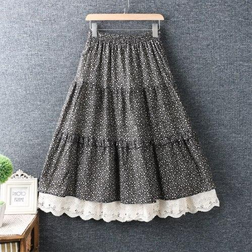 Autumn vintage print skirt romantic mori girl lacing lace layers skirt