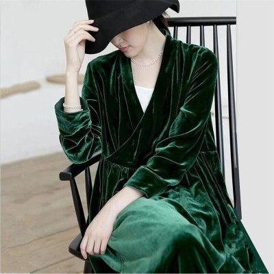 Velvet Maxi Dress Vintage Women Long Sleeve V-Neck Slim Party Dress