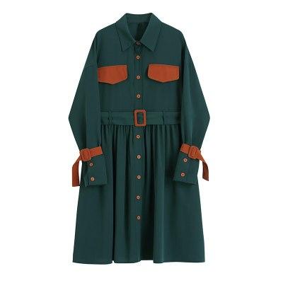 Women Green Pleated Split Big Size Shirt Dress Lapel Long Sleeve