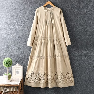 Openwork lace embroidery women  loose long sleeves dress