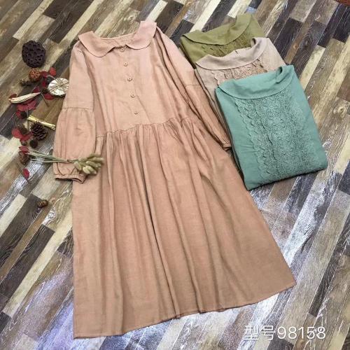 Lacing Stitch Dress Collar Vintage Cotton Lantern Sleeve Dress