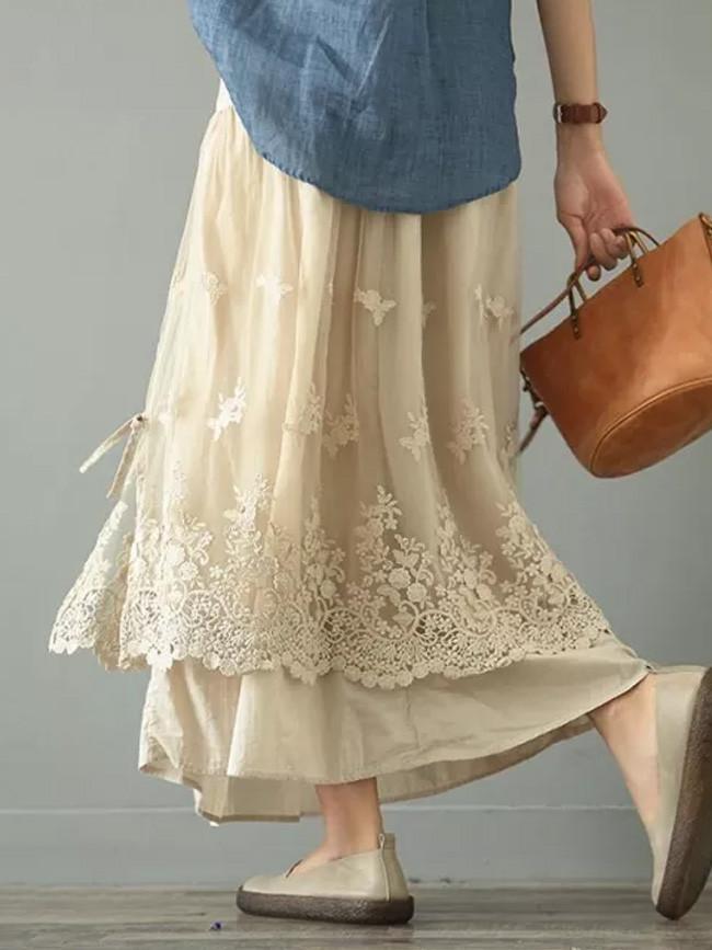 Yarn Skirt Long Skirt Retro Double Mesh Yarn Loose Embroidery A-Line skirt