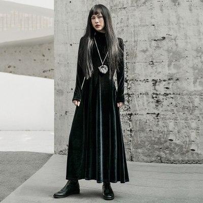 Women Black Temperament Long Velvet Dress Long Sleeve Loose