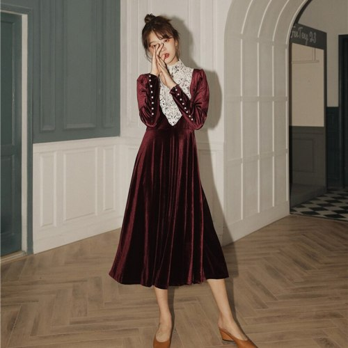 Wine Red Velvet Temperament Dress