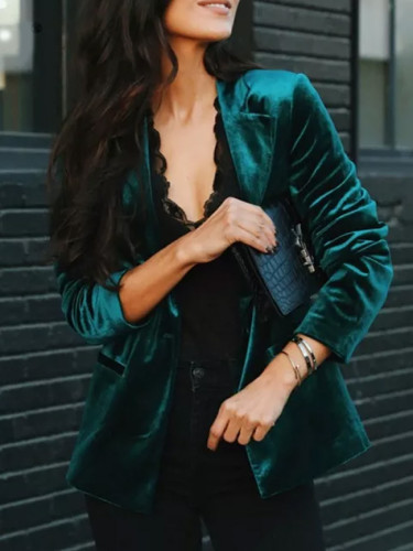 Sexy V Neck Velvet Small Suit Jacket Autumn New Long Sleeves Coat