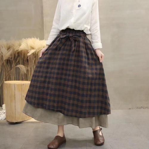 Vintage plaid Elastic waist A-Line bow belt skirt