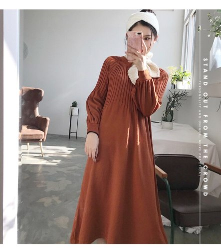 2020 autumn winter  knitting dress v-neck solid color Retro french girl chic dress