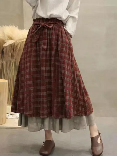 Vintage plaid Elastic waist A-Line bow belt skirt