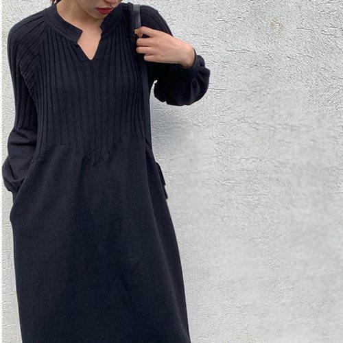 Retro girl chic knitting v-neck long sleeve basic dress