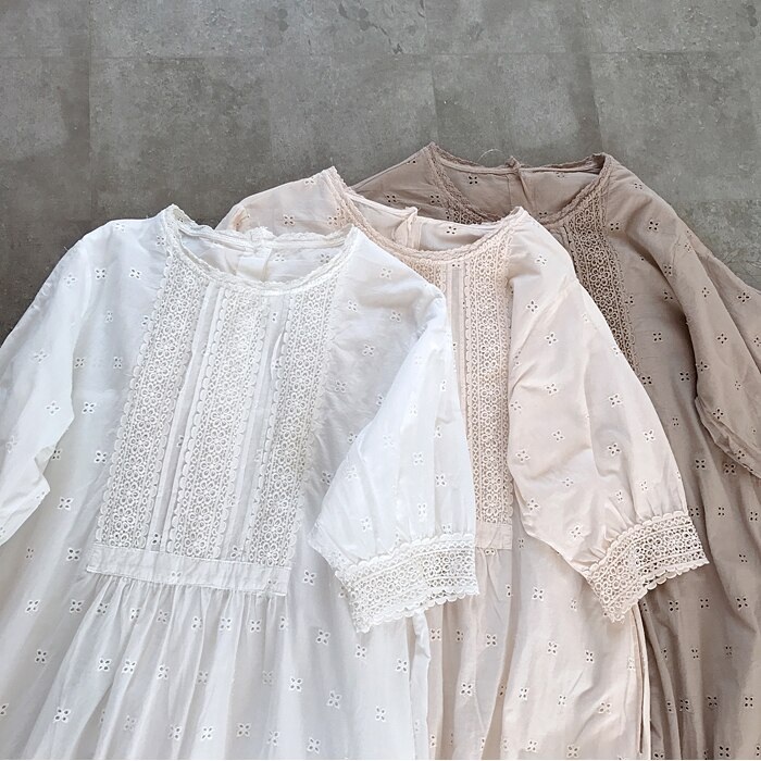 Summer Japanese-style cotton Hook flower lace embroidery dress