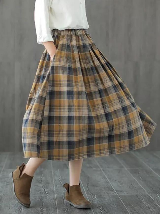 Vintage England plaid Elastic waist A-Line skirt mori girl