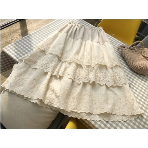 Vintage Lace Embroidery Layers Skirt