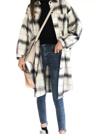 Plaid Shirts Cardigan Retro Casual Loose Long-Sleeved Single-breasted Blouses Tops