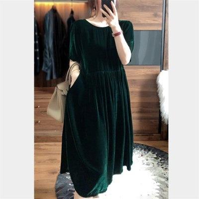 Velvet Long Dress Short Sleeve O-neck Loose Dress Female Retro