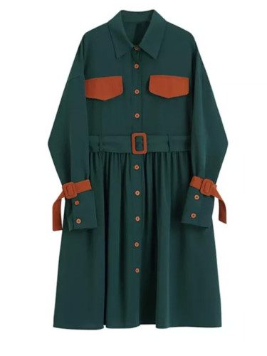 Women Green Pleated Split Big Size Shirt Dress Lapel Long Sleeve