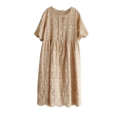 Lace dress lotus leaf collar mid-length solid color base skirt