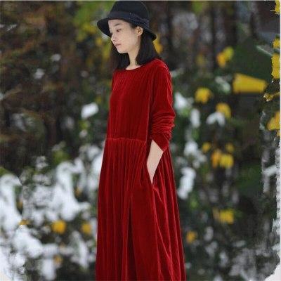 Women Autumn Velvet Long Dress Fashion Long Sleeve O-Neck Retro Party Dress