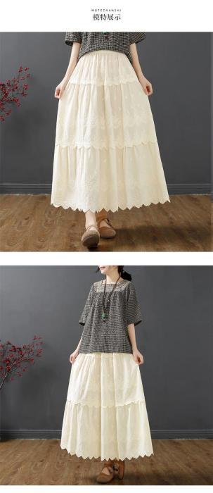 Retro embroidery skirt crocheted hollow casual elastic waist A-line mid-length skirt