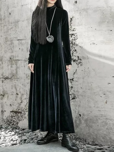 Women Black Temperament Long Velvet Dress Long Sleeve Loose