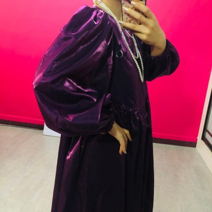 Women Purple Metal Color Long Dress New Round Neck Long Lantern Sleeve
