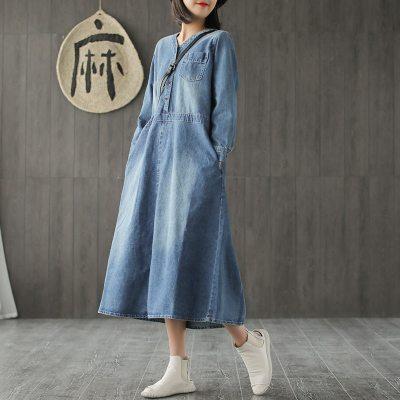 Long Denim  V-neck Casual Long Sleeve Loose Dress