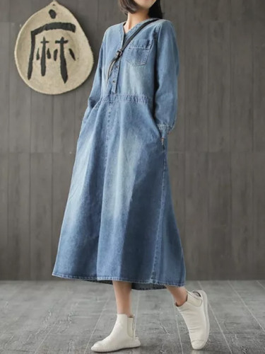 Long Denim  V-neck Casual Long Sleeve Loose Dress