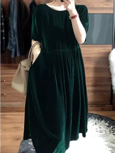 Velvet Long Dress Short Sleeve O-neck Loose Dress Female Retro