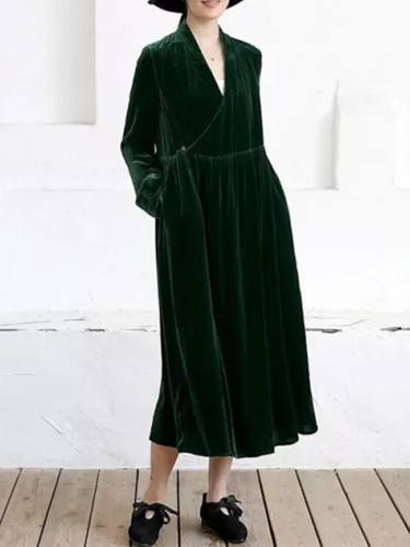 Velvet Maxi Dress Vintage Women Long Sleeve V-Neck Slim Party Dress
