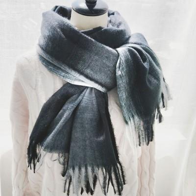 Black and white plaid scarf women winter tie-dye plaid scarf classic