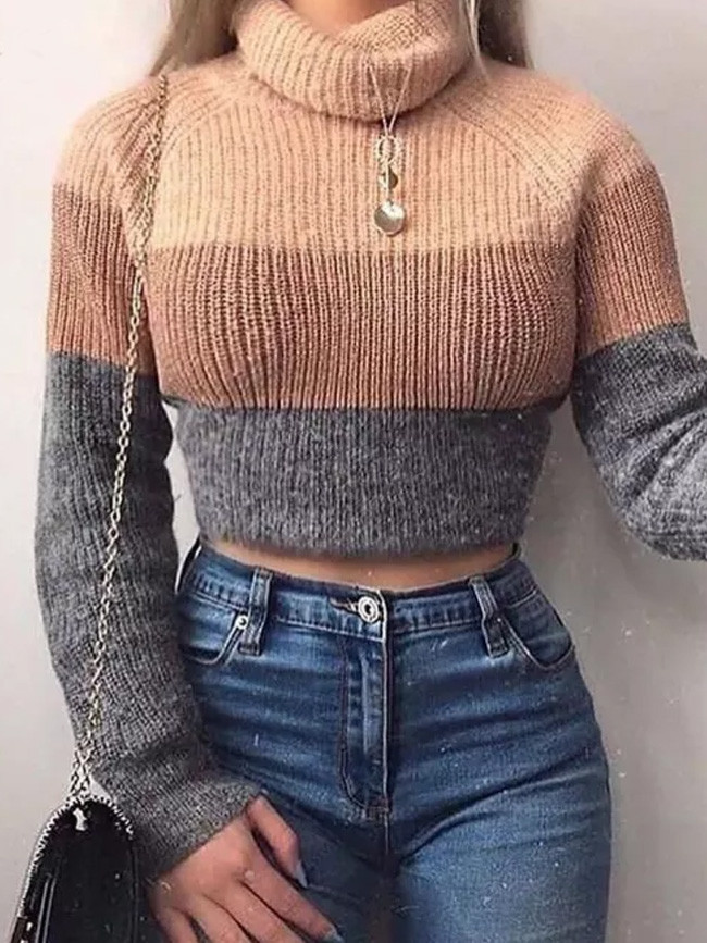 Turtlenecks Sweaters Striped Long Sleeve Knitted Pullovers