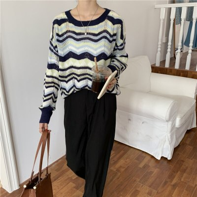 Women Sweaters Knitted Pullovers O-neck Striped  Loose Casual