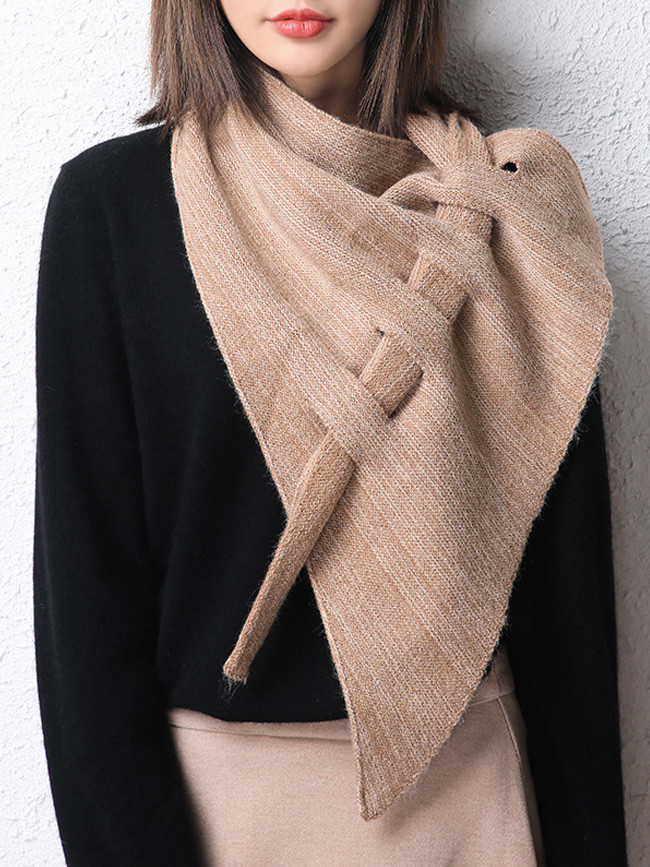 Crocheted thick cashmere triangle scarf perforated hollow shawl
