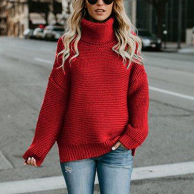 Women Turtleneck Sweaters Autumn Winter 2019 Pull Jumpers European Casual Twist Warm Sweaters Female oversized sweater Pull