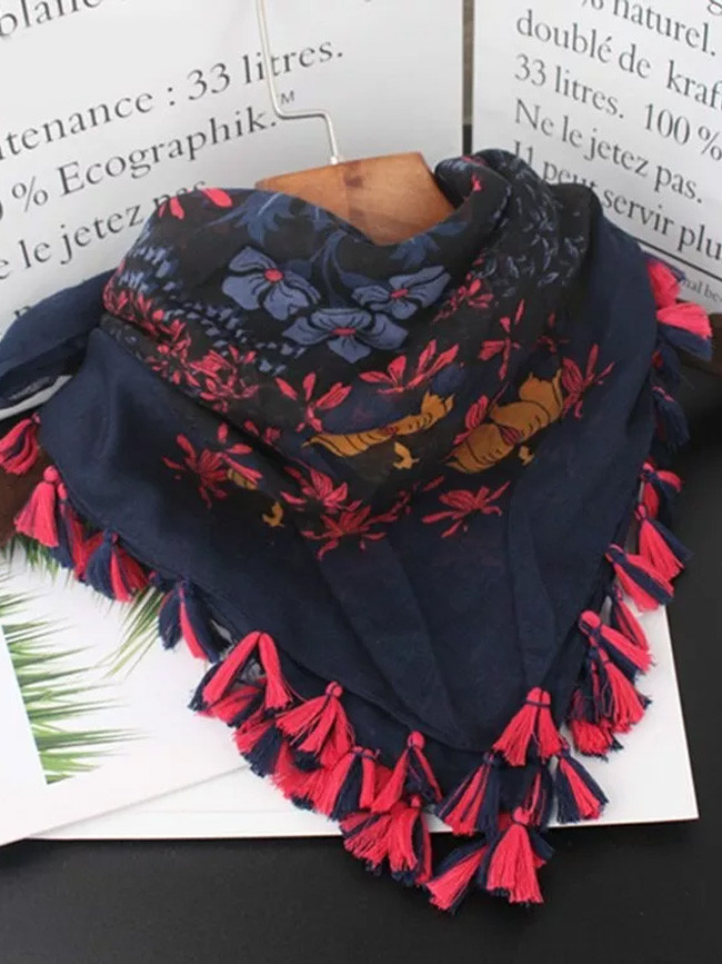 Women Autumn Spring Vintage Ethnic Tassels Print Scarves Muffler Cape