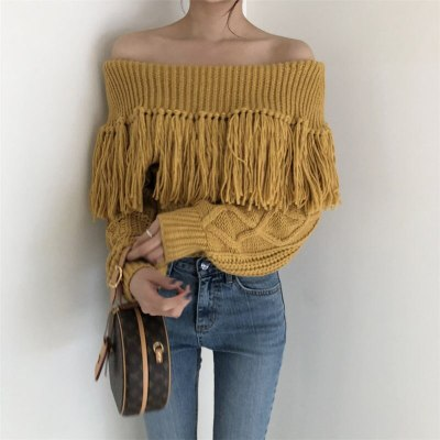 Retro Tassel Slender Chic Bare-Shoulders High Waist Women Knitted Sweaters