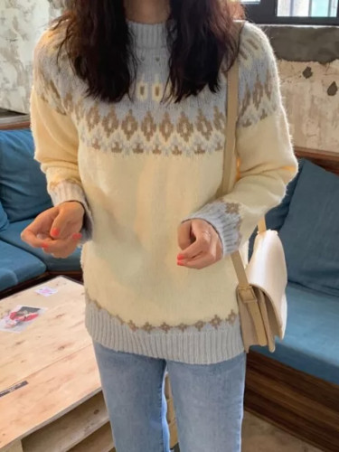Vintage Women Geometric Print O-neck Pullover Long Sleeve