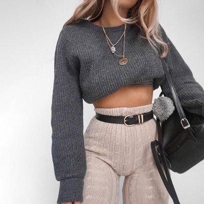 Fashion Women O-Neck Knitted Warm Long Lantern Sleeve Short Sweater Blouse