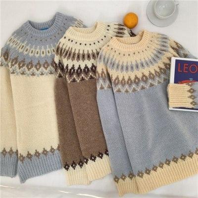 Vintage Women Geometric Print O-neck Pullover Long Sleeve