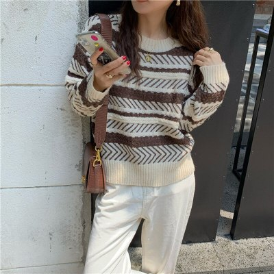 Stripe Pullover Casual Long Sleeve Sweater