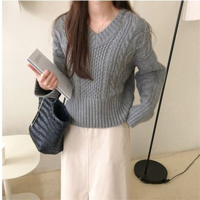 Knitted Warm Pullovers Chic Soft V-Neck Loose Sweaters