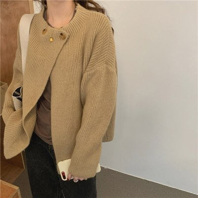 Retro Women Solid Sweater Cardigans Thick Knitted Casual Tops
