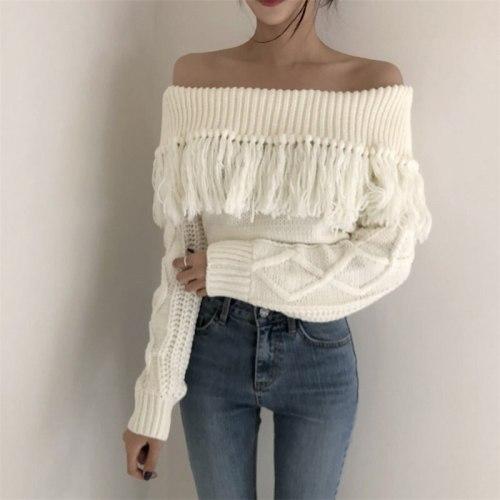 Retro Tassel Slender Chic Bare-Shoulders High Waist Women Knitted Sweaters