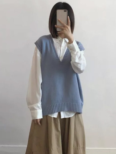 Sweater Vest Women Casual Sleeveless Pullover Autumn Winter Blue Knit Tops