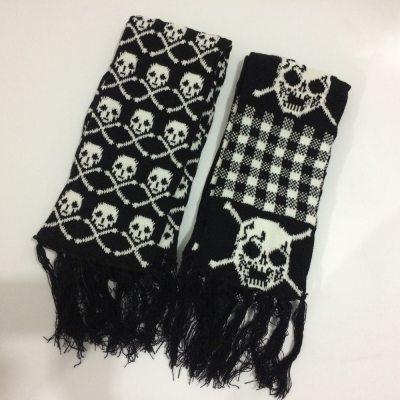 Winter Knitted Scarf Skeleton Acrylic Scarf Wraps With Fringe Black
