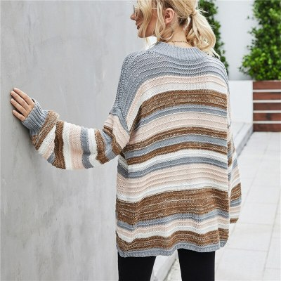 Women O Neck Stripe Sweater Knitwear Long Sleeve Home Casual Knitted Pullovers