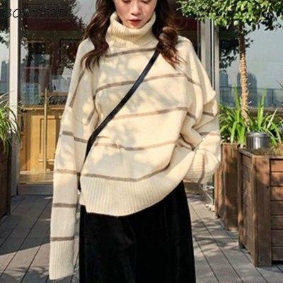 Turtleneck Sweater Women Patchwork Casual Thickening Warm