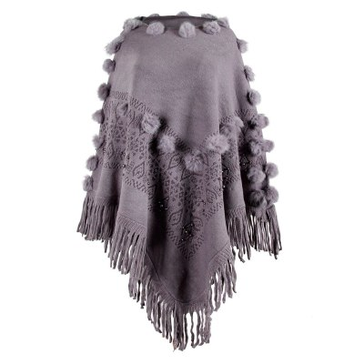 Winter O-Neck Solid Hairball Beading Tassel Cloak Loose Shawl Cardigan Casual Sweater Coat