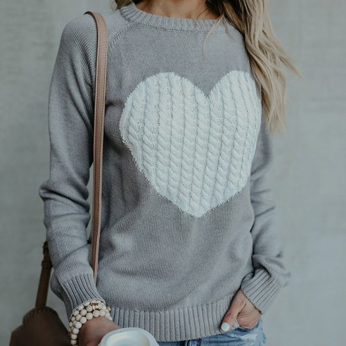 O-neck Knitted Sweaters Heart Cute Long Sleeve Pullover Knitting Sweater
