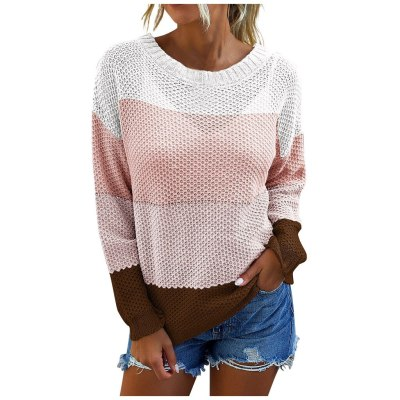 Women Fashion Loose Color Contrast Comfortable Long Sleeves Sweater Tops