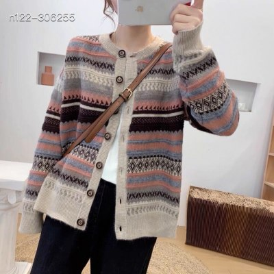 Cardigan Loose Retro Woven Jacquard Thick Warm Knitted Sweater Striped Buttons Jacket